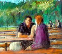 Sommer, Biergarten, Menschen, Malerei