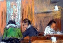 Cafe, Menschen, Skizze, Malerei