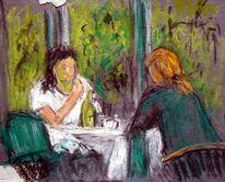 Cafe, Wintergarten, Frau, Malerei