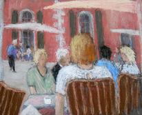 Menschen, Sommer, Cafe, Malerei