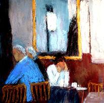 Cafe, Spiegel, Mann, Frau