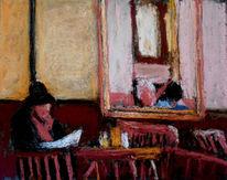 Cafe, Frau, Hut, Zeitung