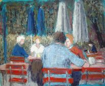 Menschen, Park, Cafe, Malerei