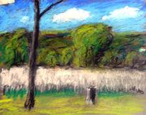 Baum, Wolken, Feld, Malerei