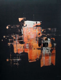 Schwarz, Modern, Kupfer, Acrylmalerei