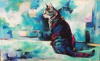 Katze, Abstrakt, Türkis, Malerei