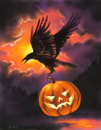 Rabe, Krähe, Kürbisse, Halloween