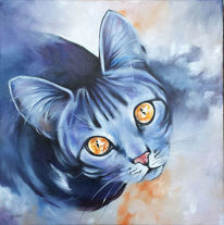 Katze, Augen, Malerei
