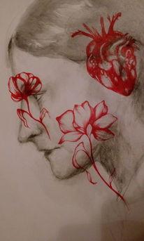 Zeichnungen, Blumen, Augen,