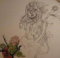 Wand, Zeichnungen, Hellblau,