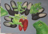 Schuhe, Frösche, Krone, Malerei