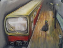 S bahn, Menschen, Bahnhof, Malerei