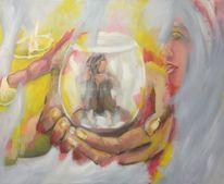 Kerzen, Glas, Frau, Hände