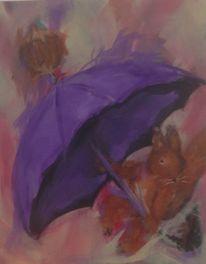 Eichhörnchen, Nüsse, Schirm, Malerei