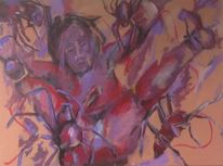 Menschen, Spinne, Malerei, Schreck