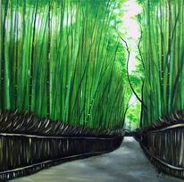 Weg, Grün, Bambus, Japan