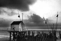 Haus, Gewitter, Schwarz weiß, Meer