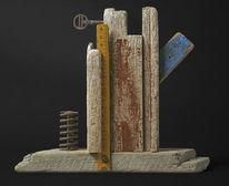 Holz, Schrott, Assemblage, Skulptur