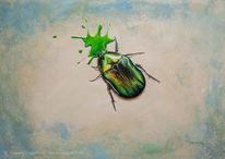 Malerei, Grünzeug, Acrylmalerei, Käfer