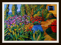 Garten, Toskana, Sommer, Malerei