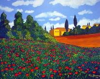 Acrylmalerei, Mohnfeld, Toskana, Malerei