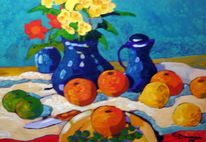 Stillleben, Blaue vase, Malerei, Vase
