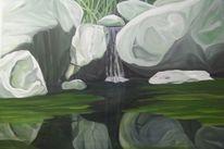 Stein, Spiegelung, Gestein, Ölmalerei