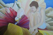 Person, Menschen, Ölmalerei, Blumen