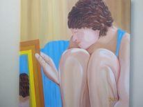 Spiegel, Ölmalerei, Braun, Komposition