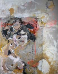 Orange, Acrylmalerei, Haare, Grafit
