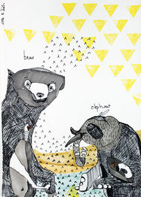 Elefanten, Bär, Tiere, Illustration