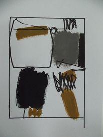 Abstrakt, Grau, Schwarz weiß, Ocker