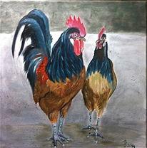 Tierwelt, Malerei, Feder, Hahn