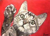 Acrylmalerei, Katze, Tiere, Vierbeiner