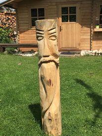 Holz, Kettensäge, Schnitzkunst, Gesicht