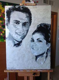 Mann, Spachteltechnik, Frau, Acrylmalerei