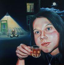 Hoffnung, Glas, Frau, Trinken