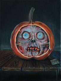 Tisch, Halloween, Kürbisse, Fratze