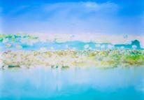 Ölmalerei, Surreal, Meer, Gelb