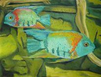 Aquarium, Pastellmalerei, Fisch, Malerei