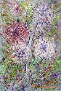 Abstrakt, Acrylmalerei, Blütenzauber, Malerei