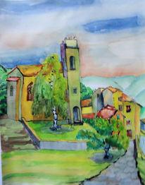 Dorf, Berge, Vaucluse, Frankreich