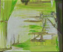 Mädchen, Sumpf, Grün, Landschaft