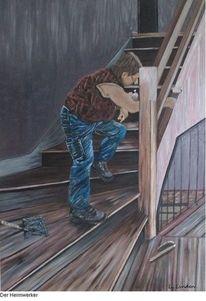 Treppe, Arbeiten, Holztreppe, Treppenhaus