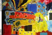 Farben, Bunt, Gelb, Mischtechnik