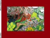 Collage, Farben, Fruchtbaum, Baum