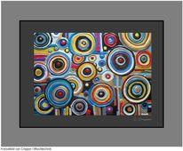 Farben, Kreiselbilder, Mischtechnik, Kreis