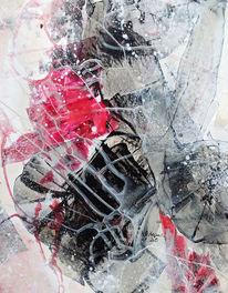 Beige, Rot, Abstrakte malerei, Grau