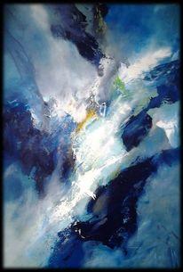Türkis, Weiß, Blau, Abstrakte malerei