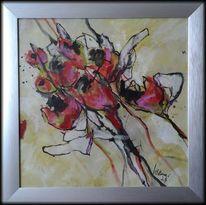 Blumen, Rot, Abstrakte malerei, Linie